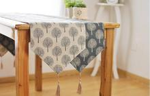 Trees Printing Cotton Table Runner Linen Table Flag Table Cover Towel Table Decoration Home Textile(China)