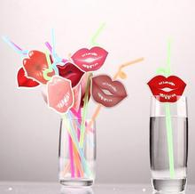 12Pcs/Set Sexy Red Lips Color Drink Straw Disposable Bendable Art PP Straw Party Decoration Wedding Gift Favors