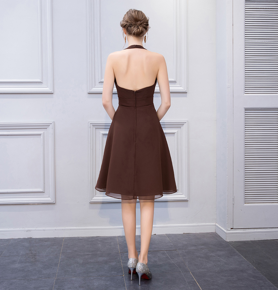 BeryLove Simple Brown Knee Length Short Bridesmaid Dresses Halter Backless Bridesmaid Gowns Chiffon Plus Wedding Party Dresses 4