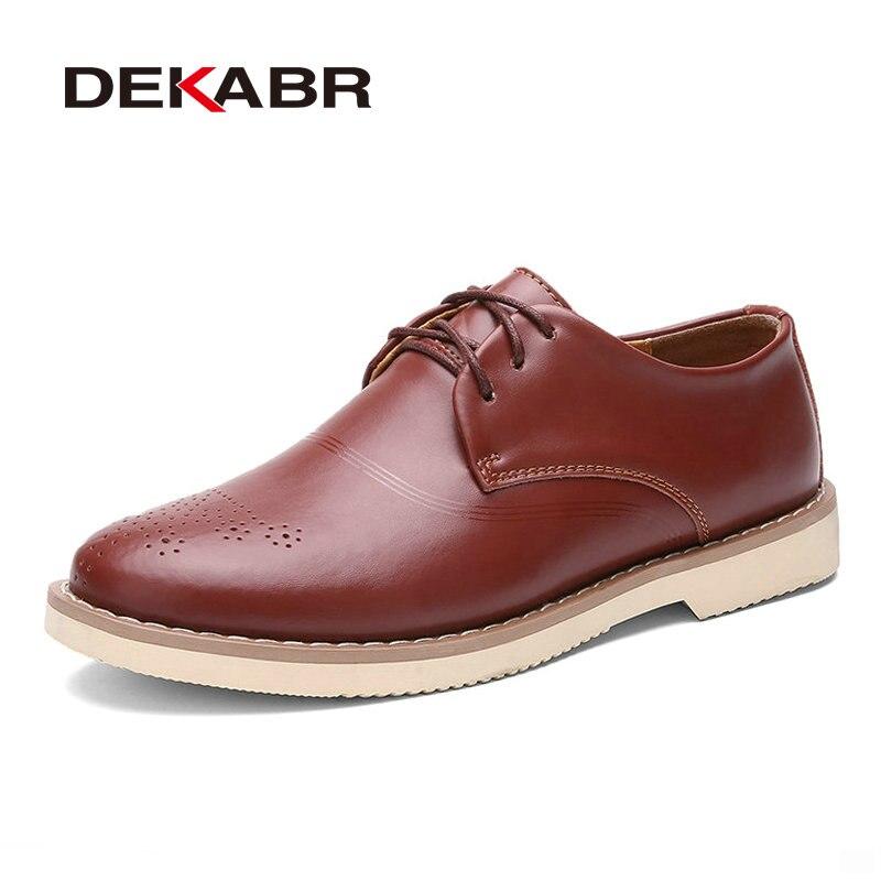 DEKABR Split Leather Men Shoes Brand Men Flats Oxfords Shoes For Men Dress Shoes British Style Flats Lace-Up Casual Flats<br>