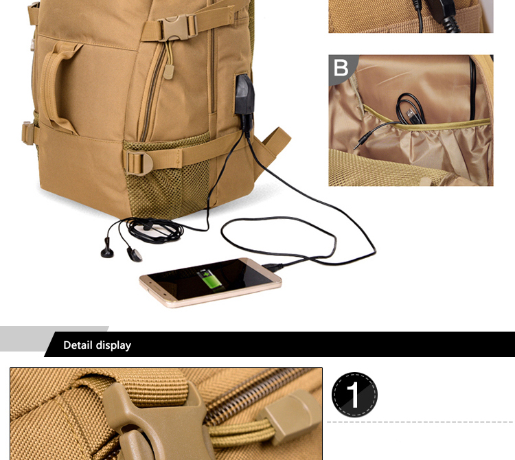 50L Rechargeable Outdoor sports Military Tactical Rucksack travel Camping Hiking Backpack climbing bag double shoulder outdoor bag (5)