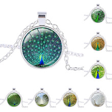 New Design Blue Peacock Necklace Bird Jewelry Nature Glass Dome Art Pendant Silver plated pendant Peacock feathers charm jewelry(China)
