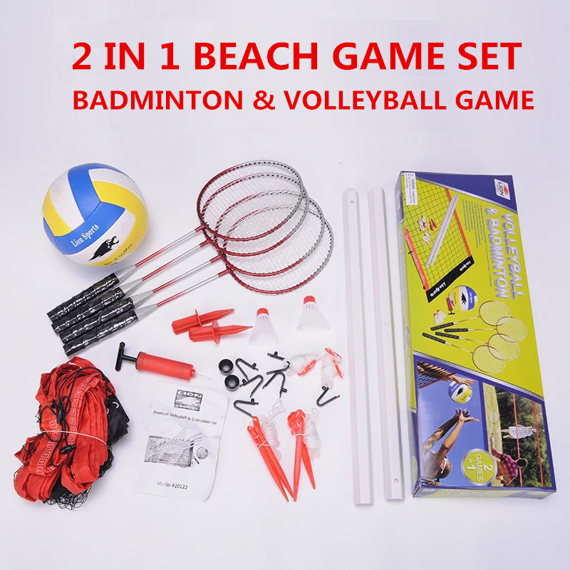 HTB14oCehfNZWeJjSZFpq6xjBFXaN - Sports 2 in 1 recreational badminto and volleyball combo set :net poles,ball,rackets &shuttlecock -portable euqipment for lawn