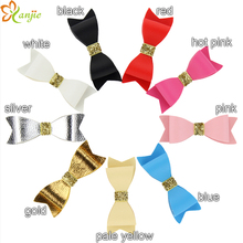"New Arrival 9 Colors 360pcs/lot DHL Shipping Chic Kids Girl Glitter 3"" Leather Bow Festival Handmade DIY Hair Accessories"