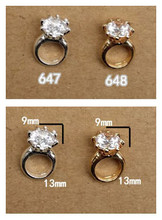 Free Shipping 20pcs Fashion 3d Alloy metal Diamond Ring Nail Art Decorations with shining rhinestones 3D nail art studs