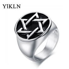 YiKLN Brand Fashion 20MM Stainless Steel Gun Black Hexagram Cast Ring Punk Male Jewelry YRC373S(China)