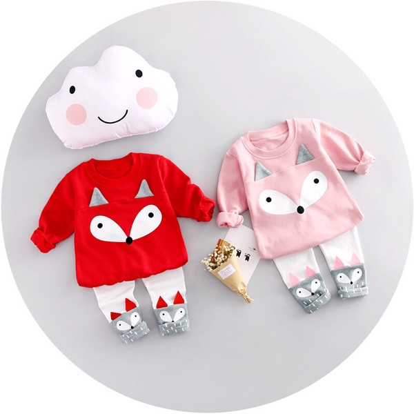 2017 Fashion Cartoon Baby Boy Girl Clothing Sets Spring Newborn Fox Top+Pants 2 pc Sets <br>