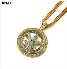 JINAO New Trend To Promote Hip Rotation Linen Set Auger Maple Leaf Pendant Necklace(China)
