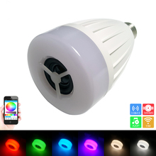 Hot sale E27 Smart Colorful Bulb AC100-240V RGBW Wireless LED Music Bulb Audio Speakers Lamp Dimmable with APP Control Wifi