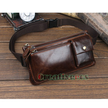 Men Oil Wax Genuine Leather Cowhide Vintage Travel  Riding motorcycle Hip Bum Belt Pouch Fanny Pack Waist Purse Clutch Bag