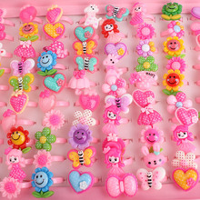 Wholesale 50pcs Mix Lot Animals Flower Heart Assorted Baby Girl Children's Cartoon Rings Free Shipping