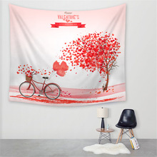 Rural Wind Love Tree Printing Furnishing Decoration Tapestry Sandy Beach A Piece Cloth Sit Carpet  Wall Hanging Table Cloth