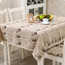 1PC Vintage Europe Eiffel Tower Multi Size Beige Linen Coffee Tablecloth With Lace edge For Home Dining Table Decoration