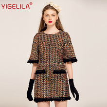 YIGELILA Brand 61268 Latest New Women Fashion Tweed Dress With Pocket Tassel Half Sleeve Straight