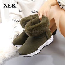 Buy XEK Winter Plush Warm Sneakers Fur Women Running Shoes Non Slip High Top Woman Sports Shoes Thermal Walking Snow Boots JH65 for $21.98 in AliExpress store
