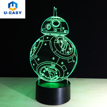 U-EASY Star Wars Lamp 3D Night Light Robot USB Led Table Desk Lamp LED Night RGB Lights for Home Decoration Robot Creative Lamp
