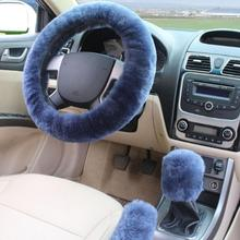 3pcs/1set Wool Plush Car Fur Car Steering Wheel Cover Sets Spring Fur Handle Sleeves Winter Supplies Warm Steering-Wheel Cover