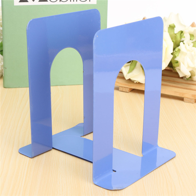 bookends solid metal high desk book organizer school shelves for books holder stand metal bookends iron purple black 2pcsset
