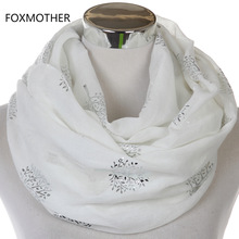 FOXMOTHER 2017 New Fashionable White Grey Shiny Bronzing Silver Metallic Mulberry Tree Infinity Scarves Loop For Womens