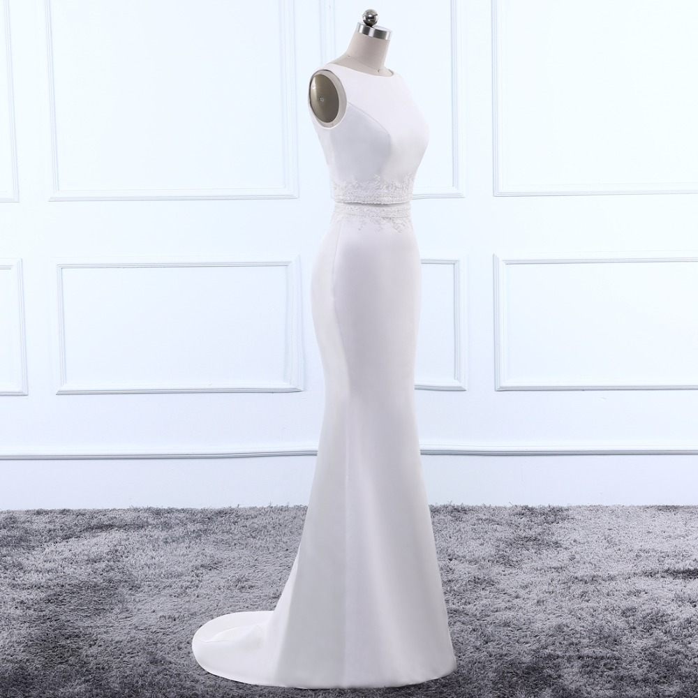 Vestido de noiva Anxia Simple Satin V-back White Ivory Wedding Dress Detachable Train 2018 Custom Size Cheap Bride Gowns