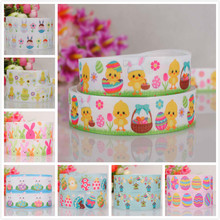 "50% off 1"" and 7/8"" Happy Easter cartoon printed grosgrain ribbon 5 /10/20yards/print random delivery(China)"