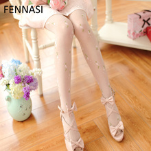 Buy FENNASI Women Jacquard Tights Sweet Transparent Pantyhose Girl Japanese Fashion Retro Flowers Print White Stockings