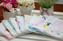 HOT SALE 5pcs/lot Lovely South Korea single layer high quality 100% cotton gauze handkerchief baby Saliva towel b1TRK0008