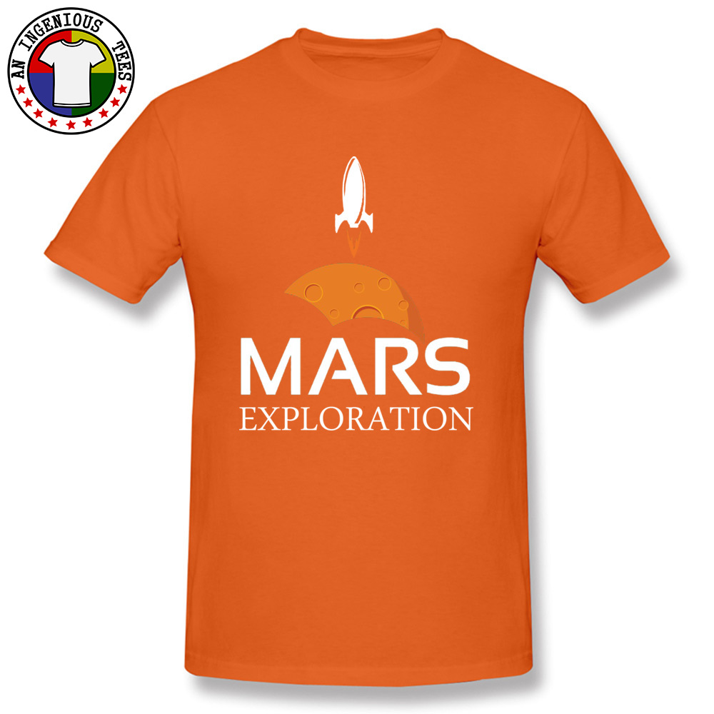 Mars-Exploration-Space-Rockets Design Tops Shirt Short Sleeve for Men All Cotton Autumn Crew Neck T Shirts Normal Tees Slim Fit Mars-Exploration-Space-Rockets orange