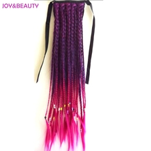 JOY&BEAUTY Synthetic Hair Heat Resistant Pure Manual Weaving Braided ponytail Women's Clip In Ponytail 24inch Long(China)