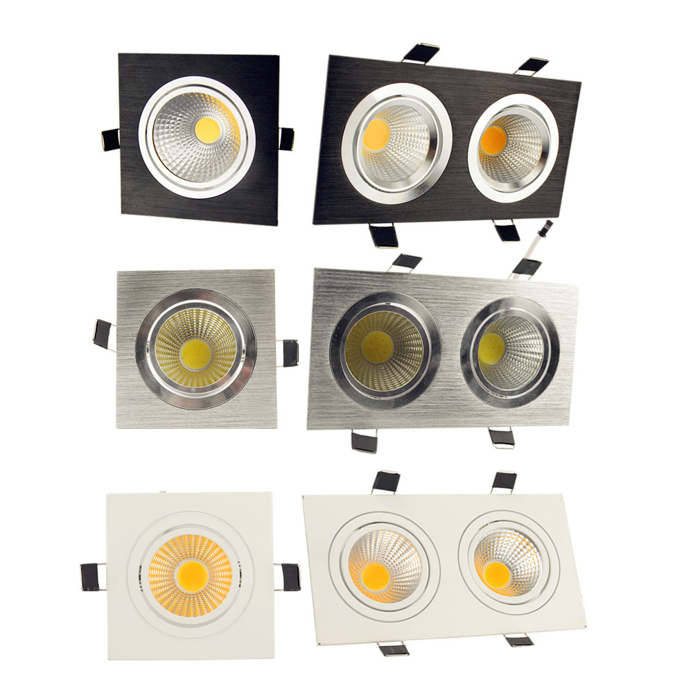 9w 12w 18w 24w Led downlight ceiling lamp light square cob Dimmable 220v 110v Recessed Double downlight LED Spot With Driver(China)