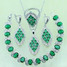 Siver color Stones Mariques Green created Emerald Bracelets Jewelry Sets For Women Wedding Earrings/Ring/Necklace/Pendant
