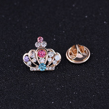 High Quality Crown Brooch Pins Mini Gold Color Brooches For Women Multicolor Rhinestone Brooch Shirt Collar Accessories