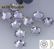 288pcs/Lot, AAA Quality New Facted (8 big + 8 small) ss30 (6.3-6.5mm) Crystal Iron On Hotfix Rhinestones(China)