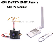 Mini 5.8G FPV Receiver UVC Video Downlink OTG VR + Readytosky 5.8G 48CH 25MW VTX 1000TVL FPV Camera Built-in Transmitter