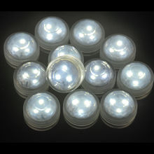 10Pcs*Wedding Decoration Single Color Waterproof Submersible Led Tea Light Mini Party Light With Battery For Halloween Christmas