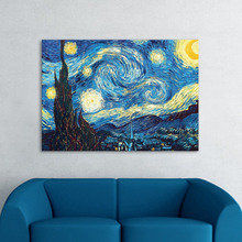 Handmade Painting Famouse Reproduction Van Gogh  Starry Night Interactive Animation hot design Star Night