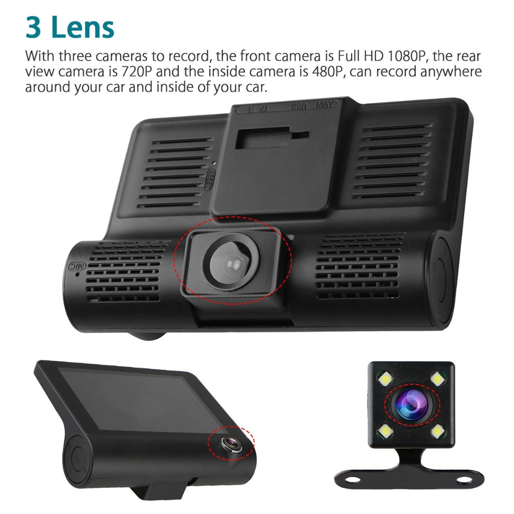 4 1080P HD 170 Angle 3 Lens Car DVR Dash Cam G-sensor Recorder and Rearview Camera Three Way Camera Tri-lens Night vision Camco (9)