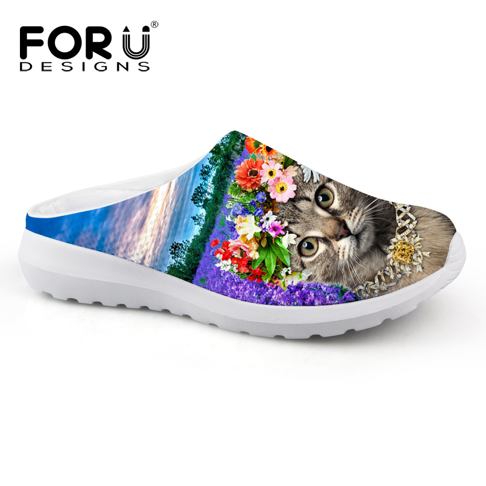 FORUDESIGNS Lady Slippers Breathable Mesh Shoes 3D Animal Pet Cat Print Women Casual Beach Sandals Slip-on Loafers Female Flats<br>