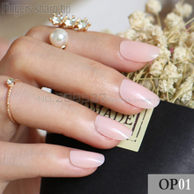 24pcs new product sales long small round Soft pink Nude color oval head fake nail fit comfortable DIY nail candy color R26 P01