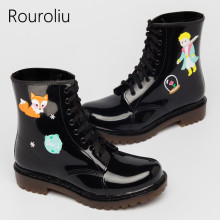 Rouroliu Vintage Cute Ankle Rain Boots Women Graffiti Waterproof Water Shoes Woman Short Rainboots Wellies RS215(China)