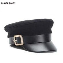 MAERSHEI mujeres Otoño Invierno negro gorra militar informal de lana  sombrero de la boina de cuero plana vendimia- sombrero supe. 6ee607b7b51
