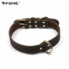 T-MENG Classic Style Dog Collar Genuine Cow Leather Collars For Small Large Dogs Necklace Pet Products For Animals Supplier(China)