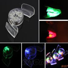 4 Colors LED Light Flashing flash Mouth Guard Piece Tooth Club Mouthguard Party Gift