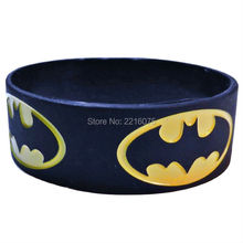 300pcs one inch BATMAN Repeat Logo Black silicone wristband rubber bracelets free shipping by DHL express(China)