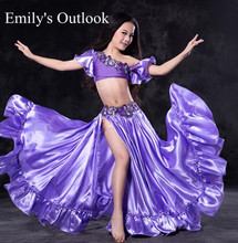 Handmade Luxury Bollywood Girl's Kids Belly Dancewear Performance Show Outfit Clothes India Dancer Purple S M L Free Shipping(China)
