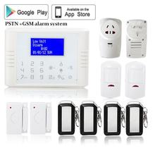English/Polish/Spanish 433mhz Wireless quad band GSM+PSTN dual networks Alarm System kit with home appliance control socket(China)
