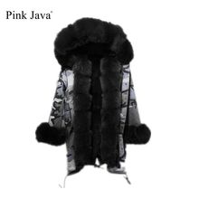 Pinkjava QC6010 real fur parka with real fox fur Hood long model women Camouflage gray jacket with rex rabbit fur lining warm(China)