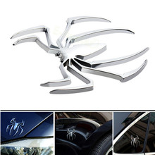 Car Styling Accessories 3D Metal Sticker Chrome Spider Shape Emblem Logo Motorcycle Decal For BMW VW Ford Toyota Honda Kia Opel