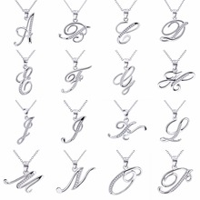 11.11 New Arrival Promotion YFN 925 Sterling Silver 26 Capital Letter Crystal Pendant Necklace Shine Popular Jewelry Necklace