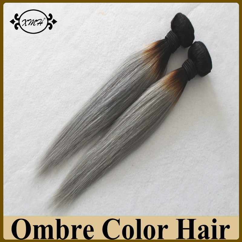 Hotsale Ombre Color Hair Extensions Straight 8A Grade Remy Human Hair Sew In Weave In Color T1B/Grey Tangle Free No Shedding<br><br>Aliexpress